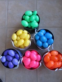 Easter Egg Hunt Idea ~  Pinner said...Color coordinated Easter egg hunt. You can only collect your color of egg. Stops one kid from getting all the eggs. (We have done this in our family for years and it works perfectly!)... Plus a tutorial on how to make the cute buckets...recycling style!
