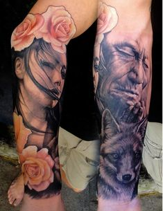 Love the combo of black+gray and cream/light pink(?) roses.   Girl with Roses and Serious Man. Tattoos by Chris Nieves