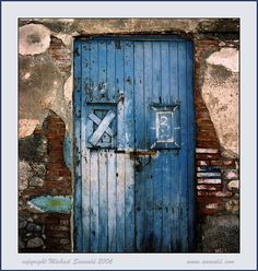 blue boat house door
