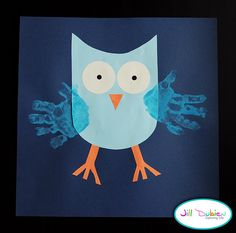 "Read Jane Yolen's classic picture book ""Owl Moon"" and then create this cute handprint owl craft."