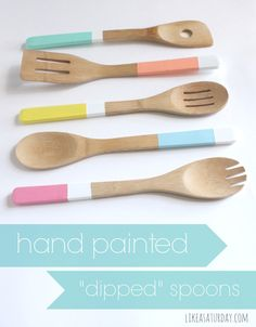 """Painted """"Dipped"""" spoons are an easy way to add some color to an otherwise plain wooden utensil. #DIY #paint #dipped #spoon #wooden #craft #kitchen"""