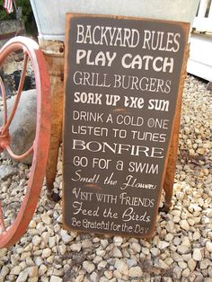 Large Rustic Backyard Rules 11x24 Sign Primitive Typography subway sign perfect gift for fathers day