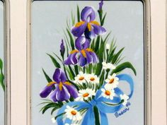 Orchids & daisies bouquet.  One Stroke Painting by Susan Earl.