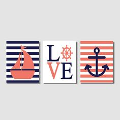 Nautical Coral Navy Wall Art Sailboat Love Captains Wheel Anchor Set of 3 Prints Girl Boy Nursery Kids Bathroom Bedroom Decor Picture