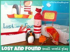 Oliver Jeffers book, Lost and Found, turned into a small world play sensory tub. What a fun way to bring a child's favorite book to life?