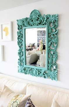 spray paint an ornate mirror turquoise....LOVE the impact