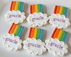 Rainbow and clouds cookies.  Adorable!