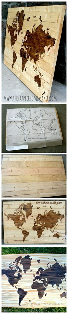 DIY Wooden World Map Art - hang on wall, then stick straight pins in where you've been decor, map art, wall art, coffee tables, idea, craft, world maps, diy wooden, stain