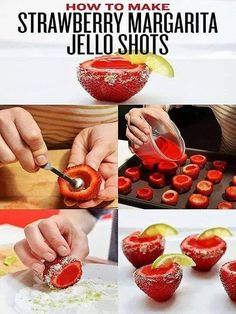 Tipsy Bartender  Watch us make Strawberry Margarita Jello Shots: http://youtu.be/ziHCAvMsfRs  STRAWBERRY MARGARITA JELLO SHOTS 1 Cup Water Box of Strawberries Packet of Strawberry Jello 3/4 Cup Tequila 1/4 Cup Triple Sec