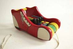 shoe art, toys, wooden shoe, pull toy, shoe pull