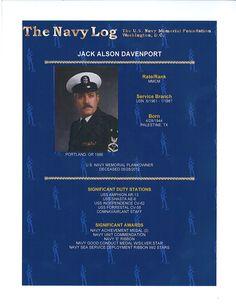MMCM Jack Alson Davenport, Navy Memorial plankowner.