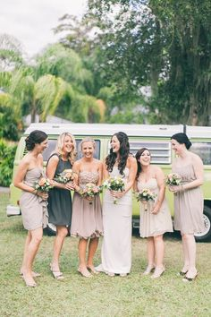 neutral bridesmaid dresses, photo by Raquel Sergio http://ruffledblog.com/paradise-cove-florida-wedding