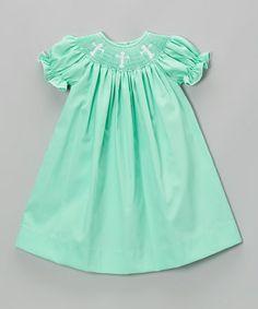Love this Mint Green Crosses Bishop Dress - Infant, Toddler & Girls on #zulily! #zulilyfinds