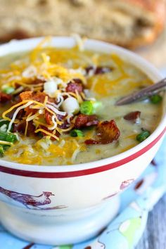 Cheesy Green chile & Potato soup