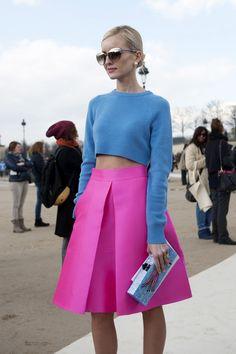 brights midi skirts, full skirts, fashion weeks, paris fashion, crop tops, spring colors, pari fashion, street styles, blues