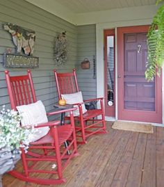 The red chairs brighten up this condo's porch, featured in our upcoming October 2013 issue. #porch #earlyamericanlife