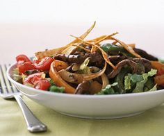 Minimal cooking oil to stir-fry the meat and vegetables means this easy meal low calorie and healthful.