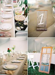 wedding table numbers on block of wood