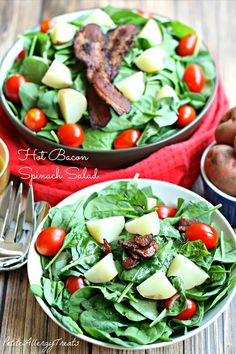 Hot Bacon Spinach Salad-PetiteAllergyTreats Warm bacon vinaigrette with spinach & potatoes #glutenfree