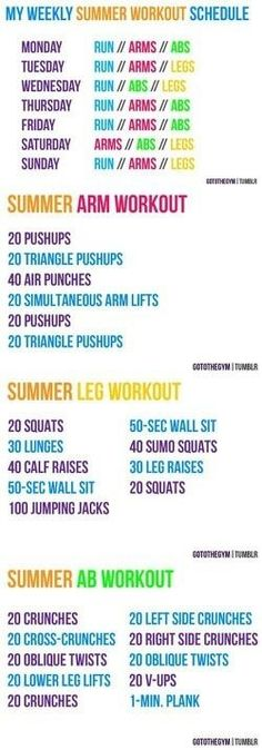 Weekly Workout Plan--good  not only limited to summer