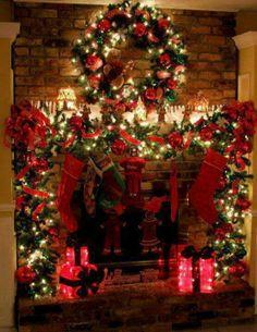 Twinkling Christmas Fireplace | #christmas #xmas #holiday #decorating #decor
