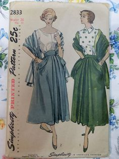 Simplicity 2833 ~ a timelessly lovely full skirt and matching shawl wrap set from 1949. #vintage #1940s #sewing_patterns