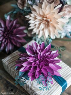 DIY Paper Dahlia Gift Topper. Pattern and Tutorial @LiaGriffith.com #diy #paperflower#diypaperdahlia #iheartpaper