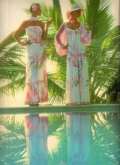 1970s floral maxi dresses Leonard Paris