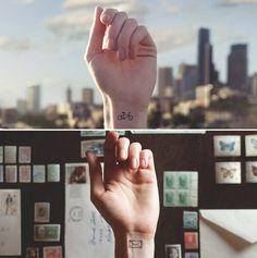 Artista cria tatuagens minimalistas que se integram com o cenário envolvente