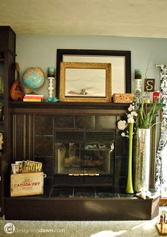 Love the mantle & fireplace decor