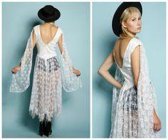Vintage 1980s White Lace Sheer Gunne Sax Angel von BOLOvintage, $185.00