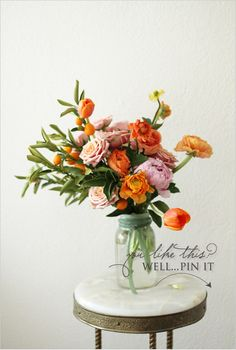 peach and orange flowers bouquet, centerpiec, color combos, green, fresh flowers, orange flowers, floral arrangements, mason jars, peoni