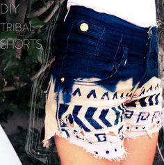diy bleach tribal print shorts