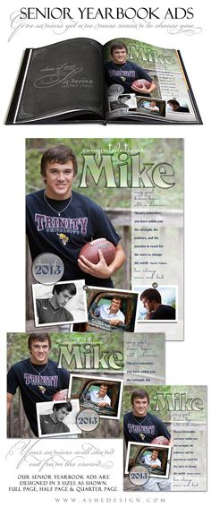 SENIOR Yearbook Ad Sets for Photographers - HOT SHOTS - (3) Templates - Full page, Half page & Quarter Page Designs. $14.99, via Etsy.