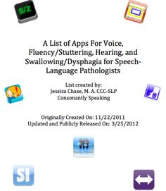 A List of Apps for Voice, Fluency, Hearing, and Swallowing for Speech-Language Pathologists - created by: Consonantly Speaking