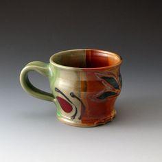 Ceramic Mug  Celadon and Shino  Handmade by TracieMansoPottery,
