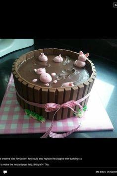 Edible Fondant Pigs Cake Toppers for Swimming Pigs in Kit Kat Barrel Cake. $22.50, via Etsy.