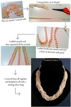 Step by step. Crystals and freshwater pearls interwoven