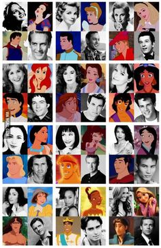 All the disney princes and princesses with their voices (even though not all these people are princes/princesses)
