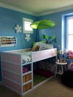 Kura bed from Ikea with a reading nook below - I wonder if we could figure out a diy... hmmm.