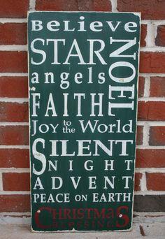 christmas crafts, subway art, christmas signs, christmas art, word art
