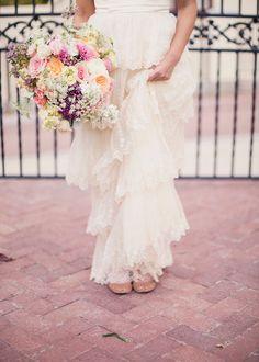 wedding dressses, lace wedding dresses, the dress, bride shoes, vintage inspired wedding, floral bouquets, bouquet flowers, backyard weddings, wedding bride
