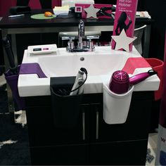 The Hot Iron Holster makes the most of your bathroom space for under $25. #ihhs13 #hotiron #bathroom