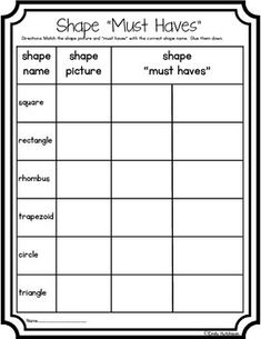 Shapes-Defining Attributes--can be used as a center, quick assessment, or homework.