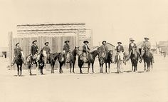 Nine Arizona Rangers line up for a photo in 1903. Among those identified are: Capt. Tom Rynning (far right) and Pvt. Jeff Kidder, riding a mule (third from right).  – Courtesy Carol Woolfolk –