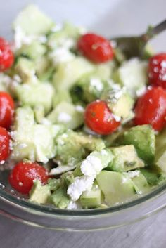 tomato, cucumber & avocado salad.