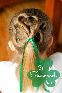 """Simple Shamrock Hair -- Previous pinner wrote, """"This adorable St. Patrick's Day clover hairstyle is really very simple and easy to create! Step-by-step photos included in post."""""""