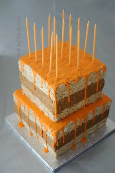 Grey and Orange Rice Krispie Treat Cake grey and orange chevrons