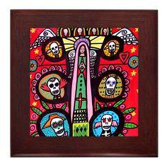 50% OFF - Mexican Folk Art Framed Ceramic Tile Print of Painting Day of the Dead Sugar Skulls Ready to Hang on Etsy, $25.00...for Joe to use in the BBQ frame tile, ceram tile, tile print