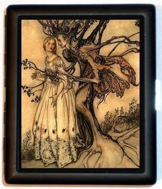 Fairy Tale Illustration Tree Man Holding Beautiful Damsel Haunted Goth Gothic Eerie Cigarette Id Case Business Card Holder Wallet